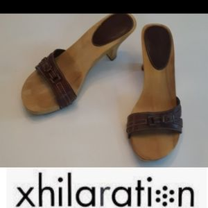 size 8.5 wooden leather high heel shoe